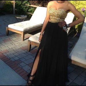 Black and Gold Jeweled Prom Dress